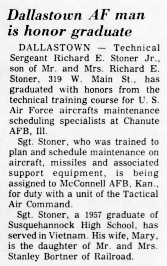 Richard E. Stoner Jr. Air Force honor graduate - Dallastoicn AF man is honor graduate DALLASTOWN...