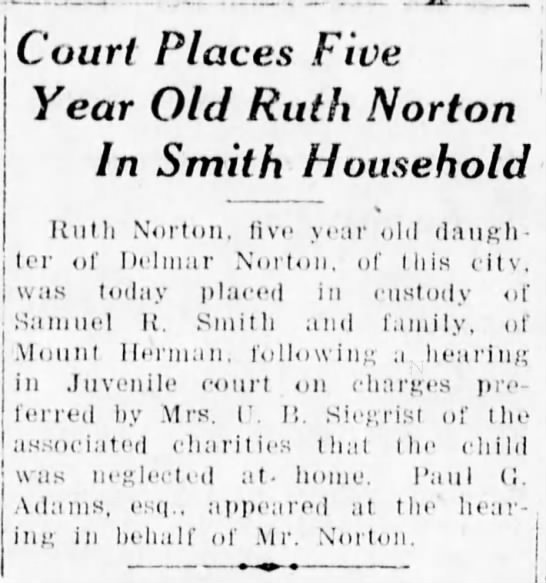 Ruth Norton Placed - Court Places Five Year Old Ruth Norton In Smith...
