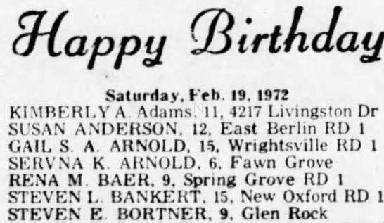 Steven E. Bortner 9th birthday - 9appij (Birthday Saturday. Feb. 19. 1972...
