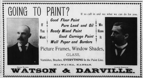 BCW 2 Mar 1894 ad Good floor paint pure lead and oil - fool-i GOING TO PAINT? i o Frank Watson. I 111...
