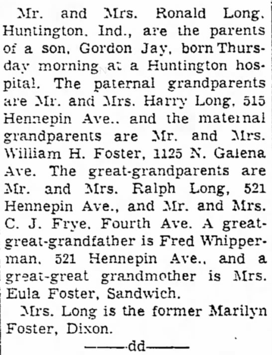 22 April 1955 residents of 521 - Mr. and Mrs. Ronald Long. Huntington. Ind., are...