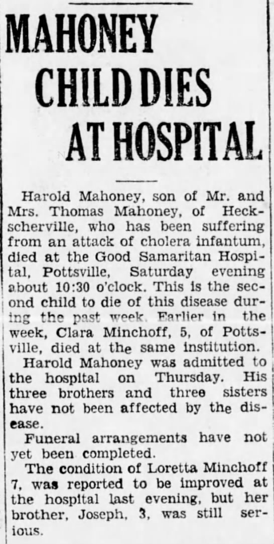 Mount Carmel Item - 9-21-1931 pg7 - MAHONEY CHILD DIES AT HOSPITAL Harold Mahoney,...
