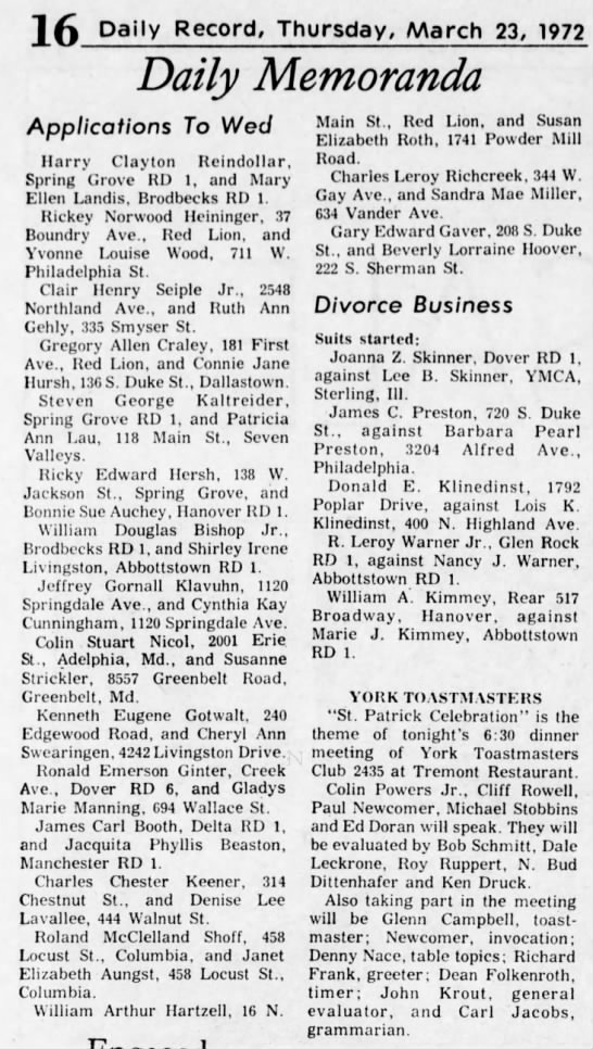 James Carl Booth & Jacquita Phyllis Beaston appn to wed  3/23/1972 - Daily Record, Thursday, March 23, 1972 Daily...
