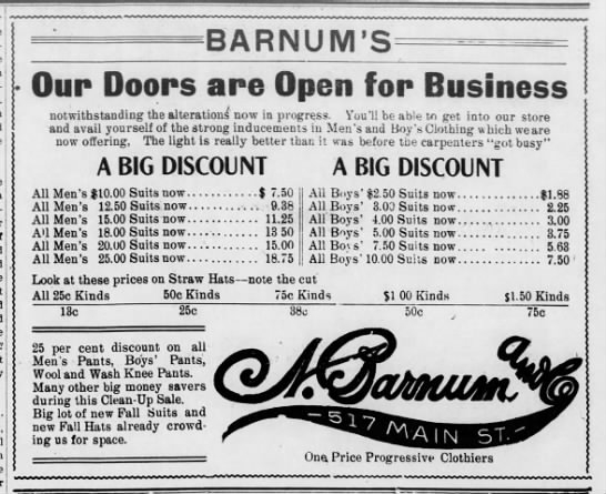 Barnum ad at 517 N Main. - BARNUM'S GDiiB Dooips aire Open for Business...