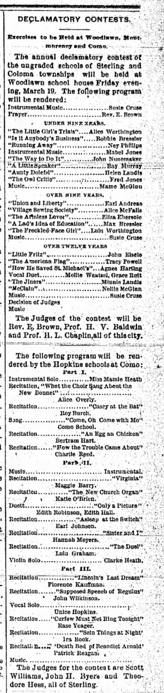 """""""Declamatory Contests"""" -- Sterling, Illinois 18 March 1897 - DEpLAMATORV CONTESTS, to b« IBteld at..."""
