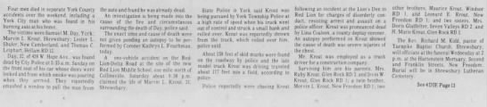 Marvin L Krout fatal accident-Nov 1974 - Four men died in separate York County accidents...