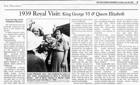 "1939 Royal Visit of King George VI & Queen Elizabeth - THE bHILLl'WACK PBOGfiESs"", Sunday, Joly 30,..."