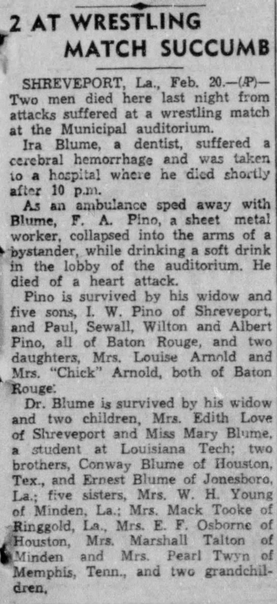 News Pino Frank Alex Sudden Death, Monroe-News-Star (Monroe, LA) Tue 20 Feb 1940 - 2 AT WRESTLING r MATCH SUCCUMB SHREVEPORT, La.,...