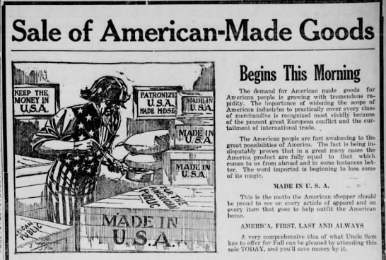 made in the USA! 10-27=1914 - Sale of American-Made Goods Begins This Morning...