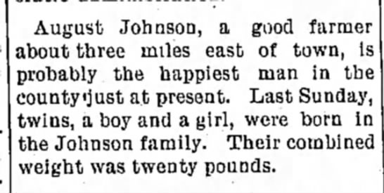Johnson, George & Grace Birth Announcement
