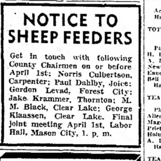- NOTICE TO SHEEP FEEDERS Get in touch, with...