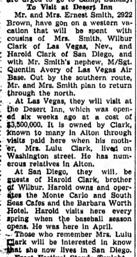Vera Smith visits Clark's - To Vlilt at Desert Inn Mr. and Mrs. Ernest...