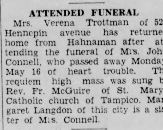 another Home resident - ATTENDED FUNERAL Mrs. Verena Trottman of 521...