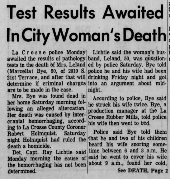 Homicide - Marcella Gronemus Bye Pg1 - Test Results Awaited In City Woman's Death La...