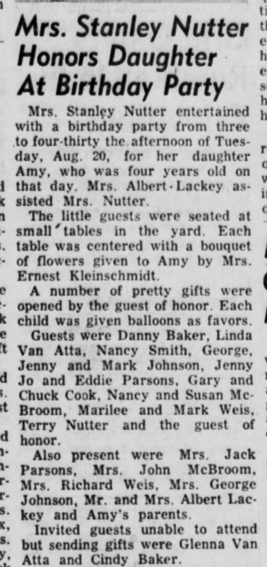 Amy Nutter 4 yr birthday party Aug 1957 - Mrs. Stanley Nutter Honors Daughter At Birthday...