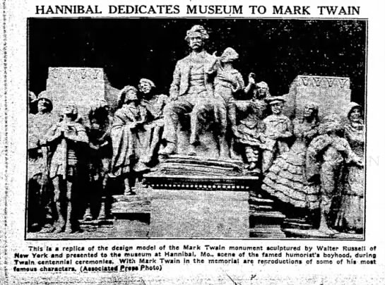 The Paris News (Paris, Texas) 28 April 1935  Page 10 - HANNIBAL DEDICATES MUSEUM TO MARK TWAIN .. Thfs...