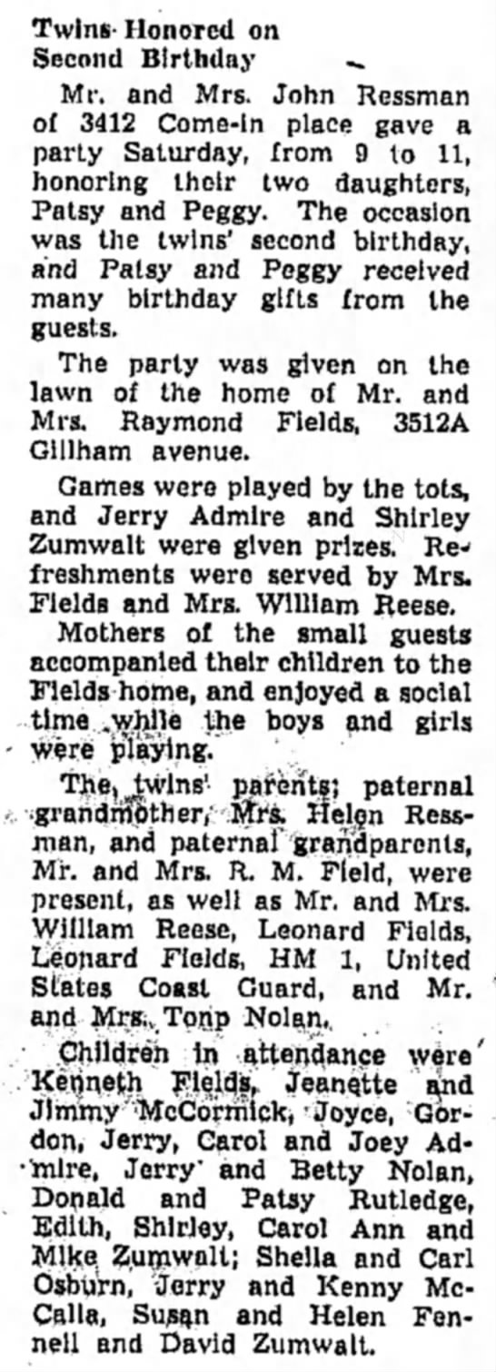 Ressman_Peg/Pat_Birthday_1950 - Twins- Honored on Second Birthday -. Mr. and...