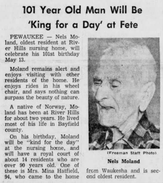 Nels Moland of Norway - 101 Year Old Man Will Be 'King for a Day' at...