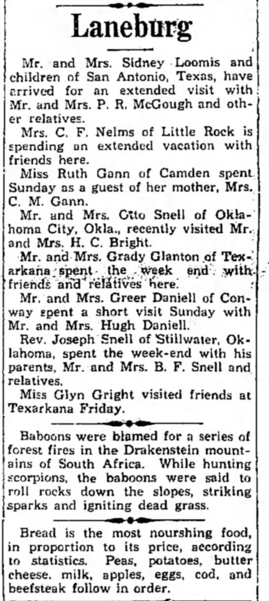 Hope Star 23 Jul 1935 Daniell - Lanebtirg Mr. and Mrs. Sidney Loomis and...