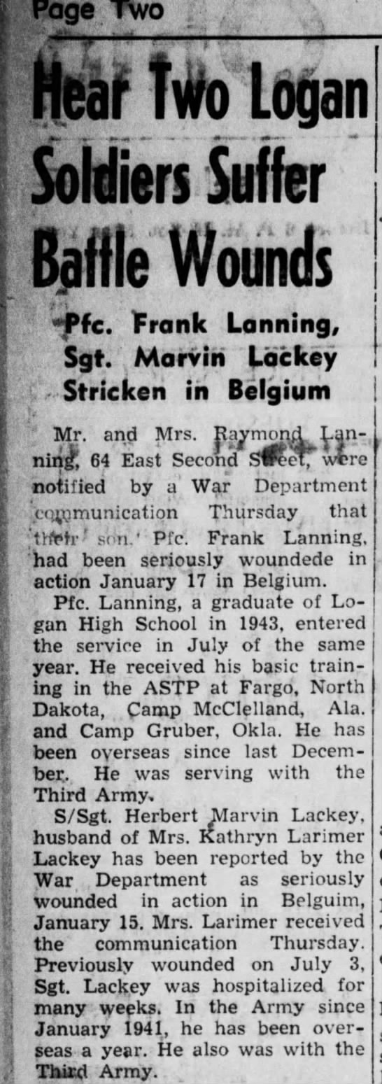 Herbert Marvin Lackey suffers wounds in Belgium Feb 1945 - Page two ■■■ — Soldfen Suffer Baffle Wounds...