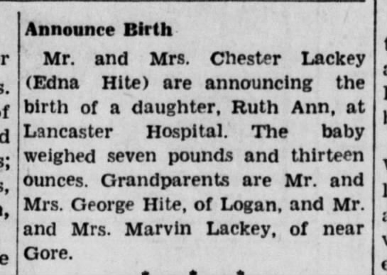 Ruth Ann Lackey birth announcement July 1942 - Gore, Announce Birth Mr. and Mrs. Chester...