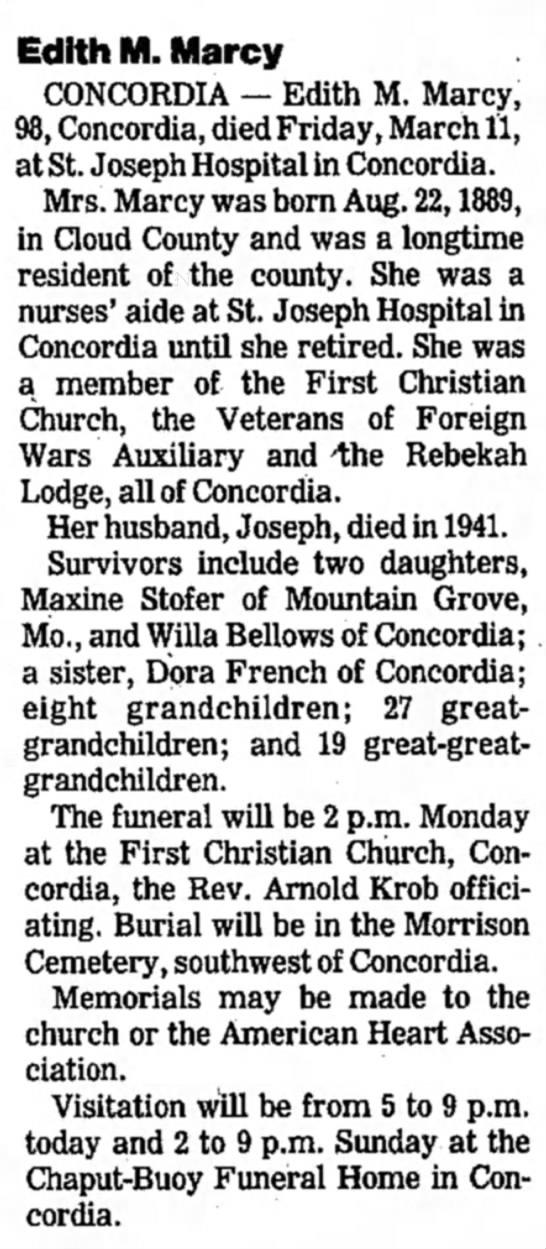 - Edith M. Marcy CONCORDIA — Edith M. Marcy, 98,...