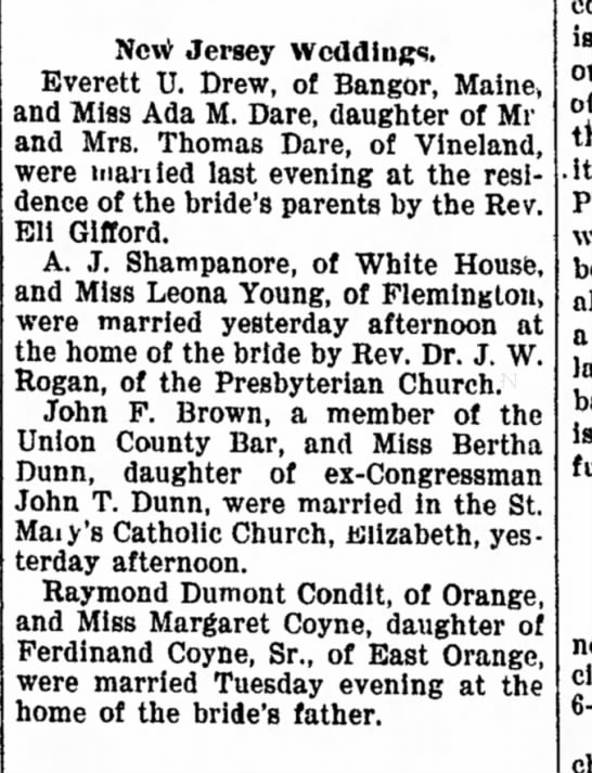Trenton Evening Times (NJ)22 June 1899  Page 2 - unable been suddenly most New Jersey weddings....