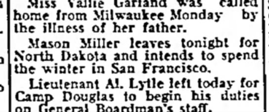 Mason Miller - Miss Vallie Garland was called home from...