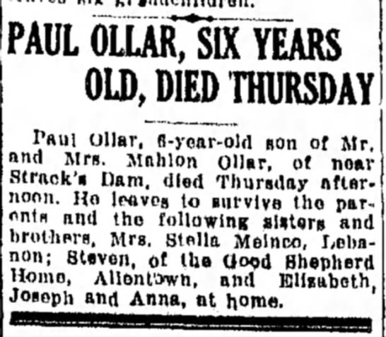 "Mahlon Ollar added to ancestry - PAUL 6LURTsS""YEARS OLD, DIED THURSDAY Paul..."
