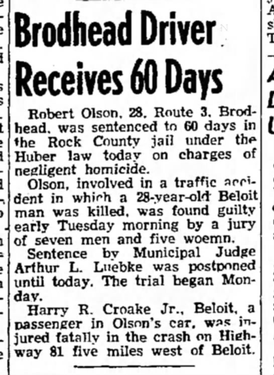 Bob Olson 60 Days - Brodhead Driver Receives 60 Days Robert Olson....