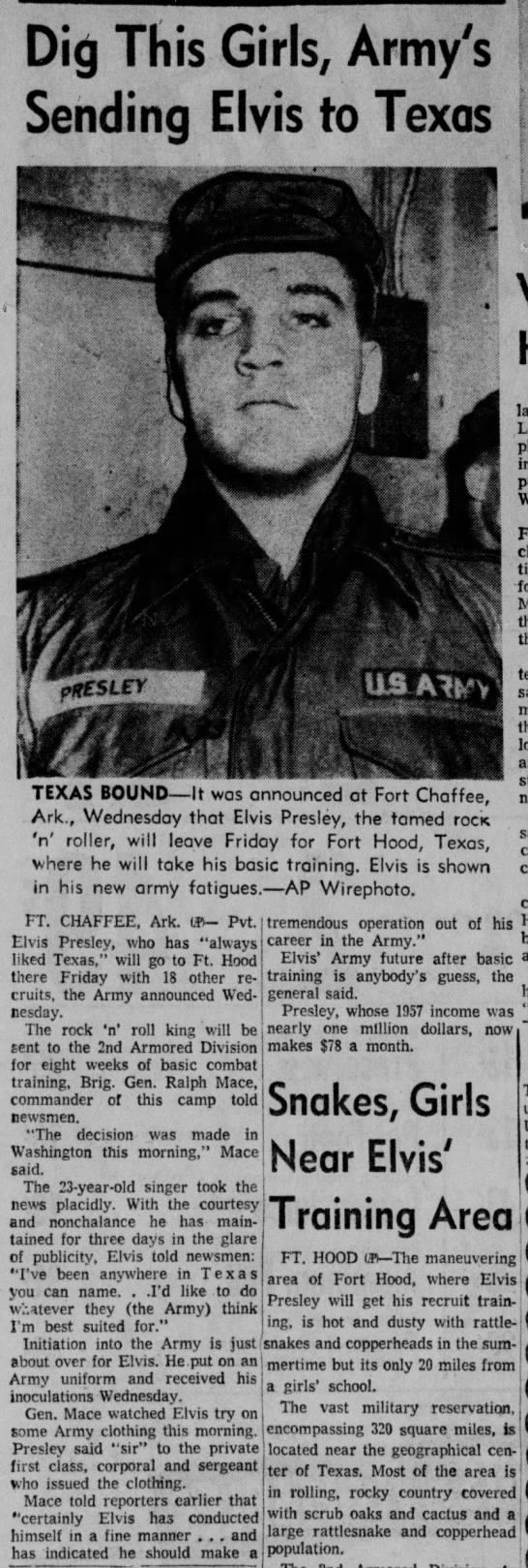 Elvis to be sent to Ft. Hood - Dig This Girls, Army's Sending Elvis to Texas...