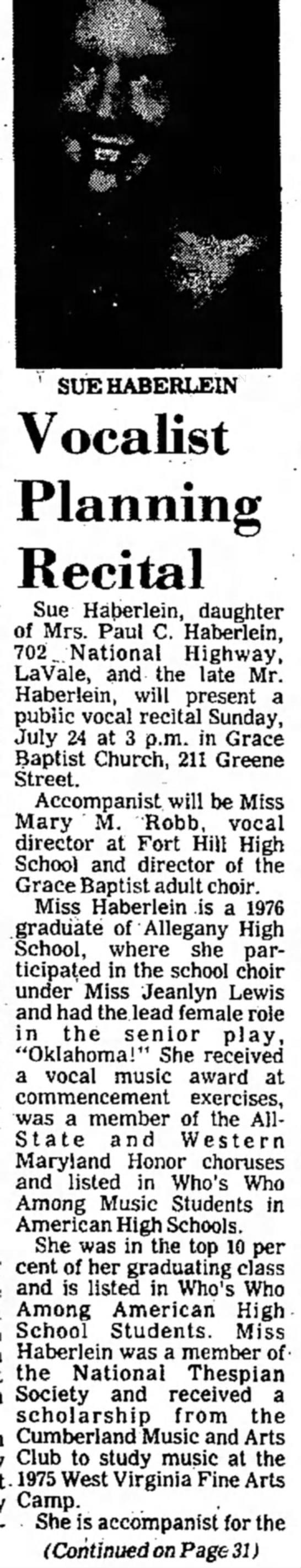 My Recital - SUE HABERLEIN Vocalist Planning Recital Sue...