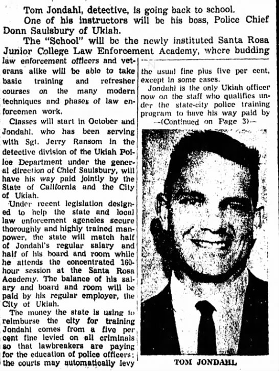 1961 Law Enforcement Academy Announcement in Ukiah Daily Journal - Tom Jondahl, detective, is going back to...