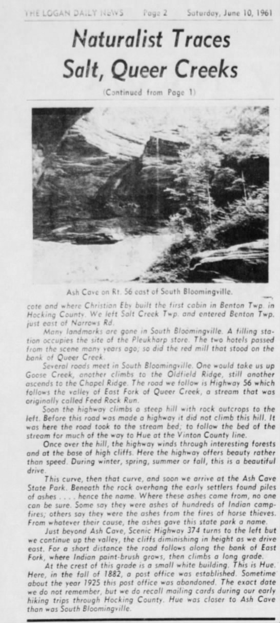 Salt & Queer Creeks Part 2 Logan Daily News June 10, 1961 - Svitufdoy, June IQ, l%l Naturalist Traces Salt,...