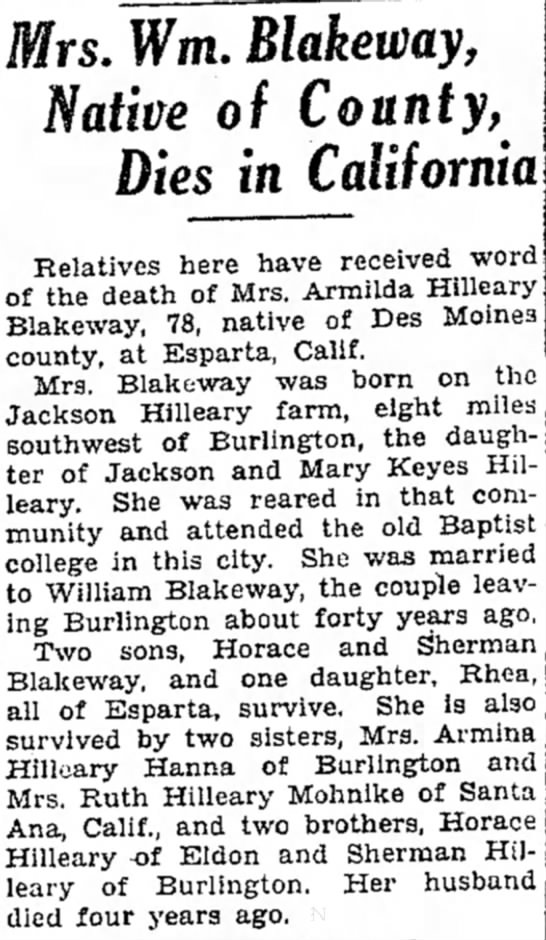 Armilda Hilleary Blakeway obituary - Mrs. Wm. Blakeway, Native of County, Dies in...