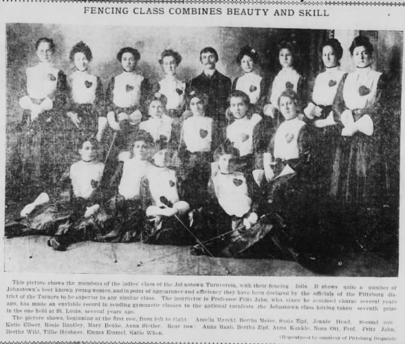 Women's fencing class photo with list of members