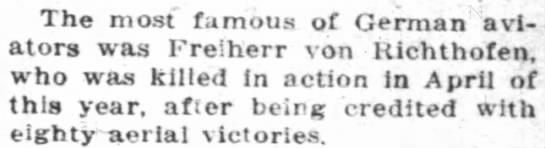 Freiherr von Richthofen - The most famous of German aviators aviators was...