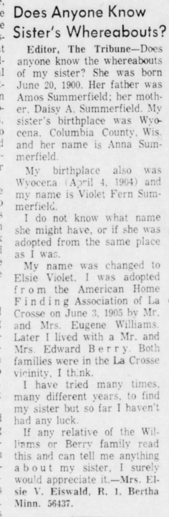 Elsie V. Eiswald asking for info on sister. - Does Anyone Know r. , VA/L . . 0 JlSter S...