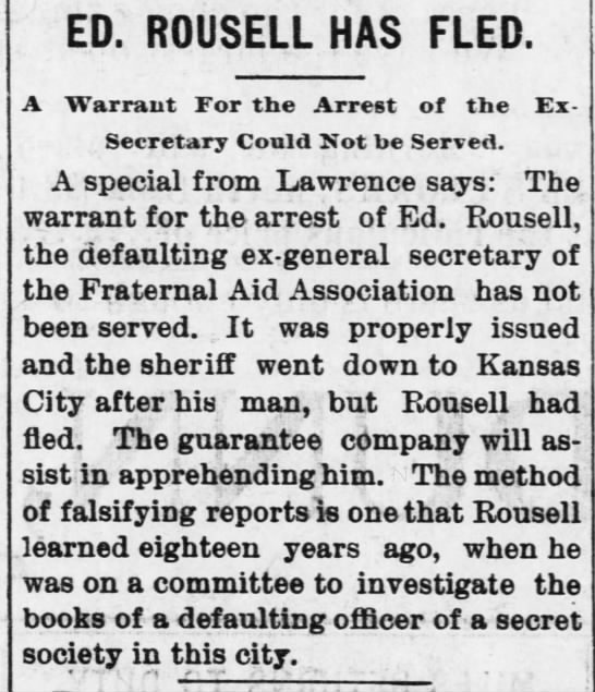 Rousell flees sep 1898 - ED. ROUSELL HAS FLED. A Warrant For the Arrest...