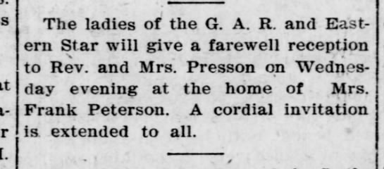 presson farewell - The ladies of the G. A. R. and Eastern Eastern...