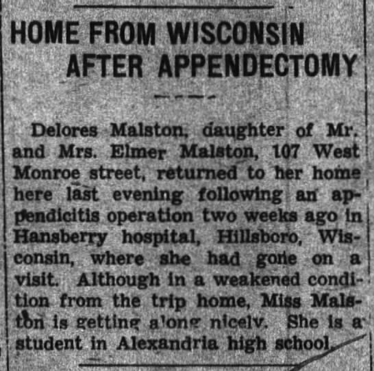 Grandma Garner - appendectomy - HOME FROM WISCONSIN ApTER APPENDECTOMY Delores...