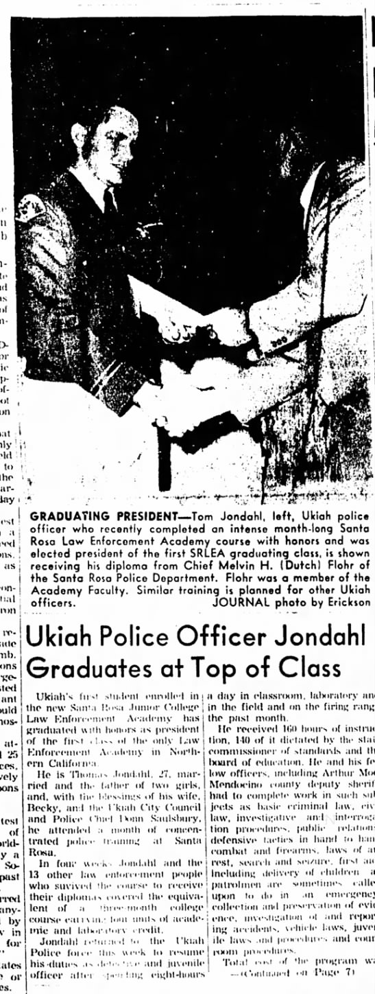 Thomas William Jondahl graduates at top of law enforcement academy class - ' to the lest .i as nm- released <l at- LTt...
