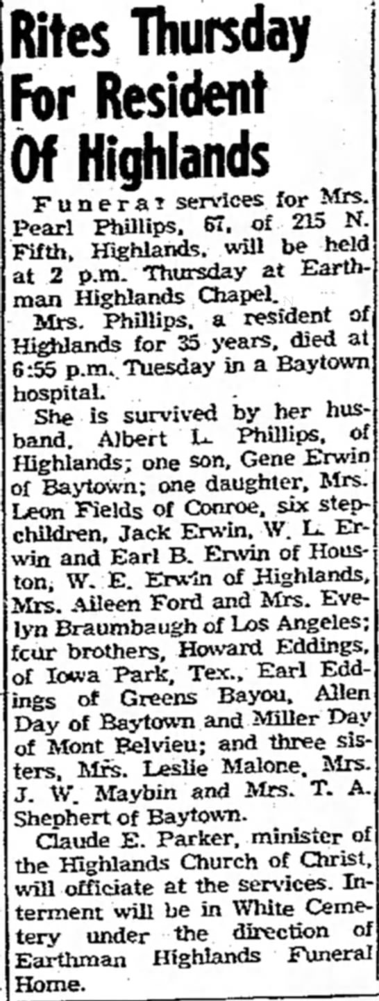 Pearl Eddins Erwin Phillips - Rites Thursday For Resident Of Highlands...