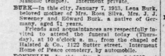 Lena Burk death notice, 9 Jan 1913. - temple i. private. BTTRK—In th!« city, January...