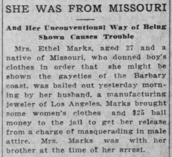 Mrs. Ethel Marks arrested for