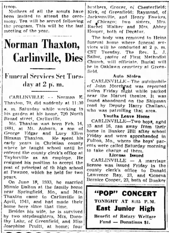 Norman Thaxton, Carlinville, Dies - t roop. Mothers of all the scouts have been...