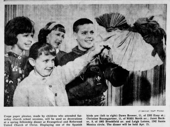 April 1965 - Crepe paper pinatas, made by children who...