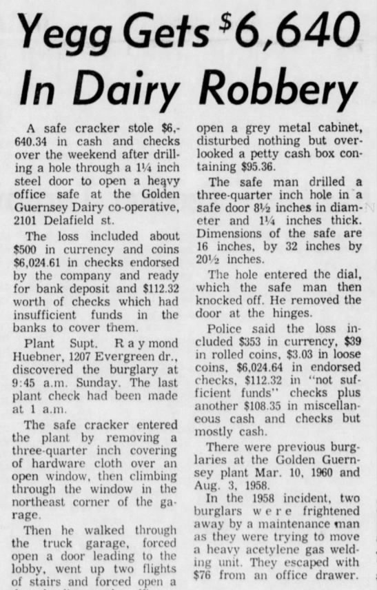 for Debbie June 1965 - Yegg Gets *6,640 In Dairy Robbery A safe...