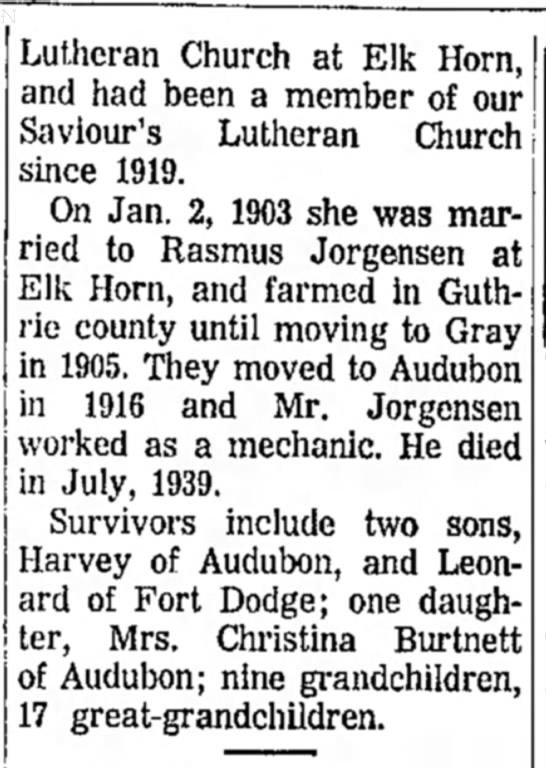 Mrs Emma Jorgensen (Clemmensen) - Lutheran Church at Elk Horn, and had been a...