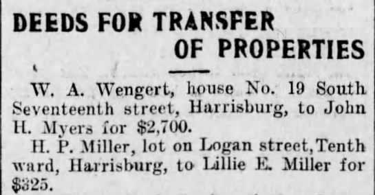 Property Transfer to Lillie Miller - DEEDS FOR TRANSFER OF PROPERTIES W. A. Wengert,...